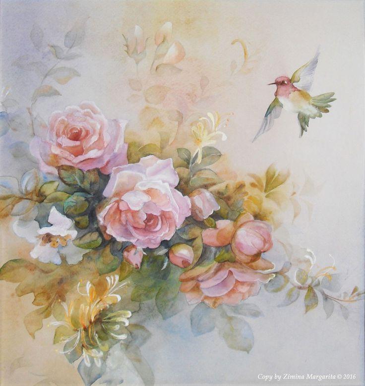 """A copy of the English painting"" by Zimina Margarita.  Копия английской живописи. Нежные розы и колибри. Зимина Маргарита."