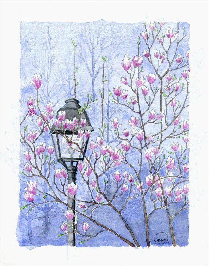 """""""Spring in La Mouzaïa"""" (paris)  Watercolour. 15x10cm"""