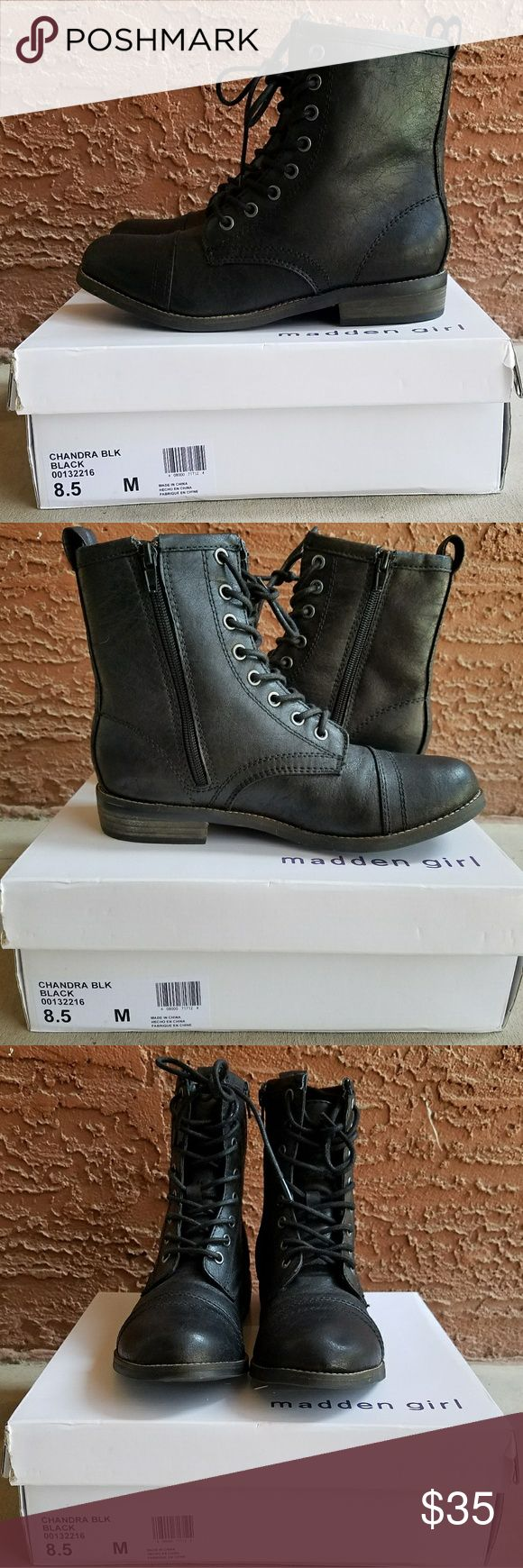 Black Boots Madden Girl Chandra boots are brand spanking new.  Ordered them online and they don't fit. (I know, I should've tried them on before i bought them) So, my mistake and your gain! No scratches or other wear. Size 8.5M. NWOT. Madden Girl Shoes Combat & Moto Boots
