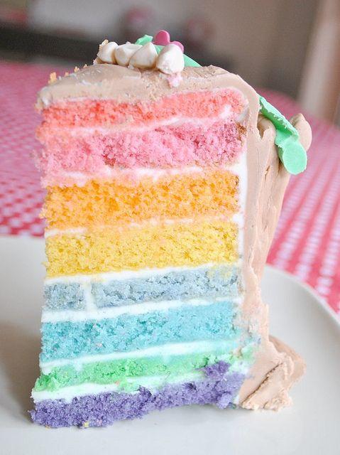 Easy 6-Layer Rainbow Cake                                                       …