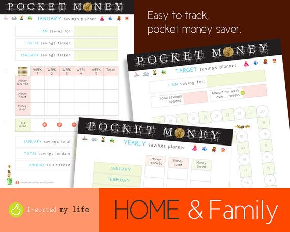 POCKET MONEY savings planner. Download and print digital files. Organise finances and save towards goals and targets. Ideal savings planner.