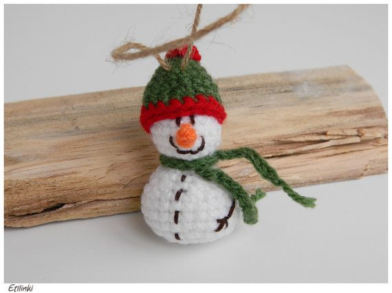 Cool Snowman Ornament - Unique Christmas Decoration - Cute Little Snowman - Beautiful Small Christmas Gift for Her - Xmas Gift for Him