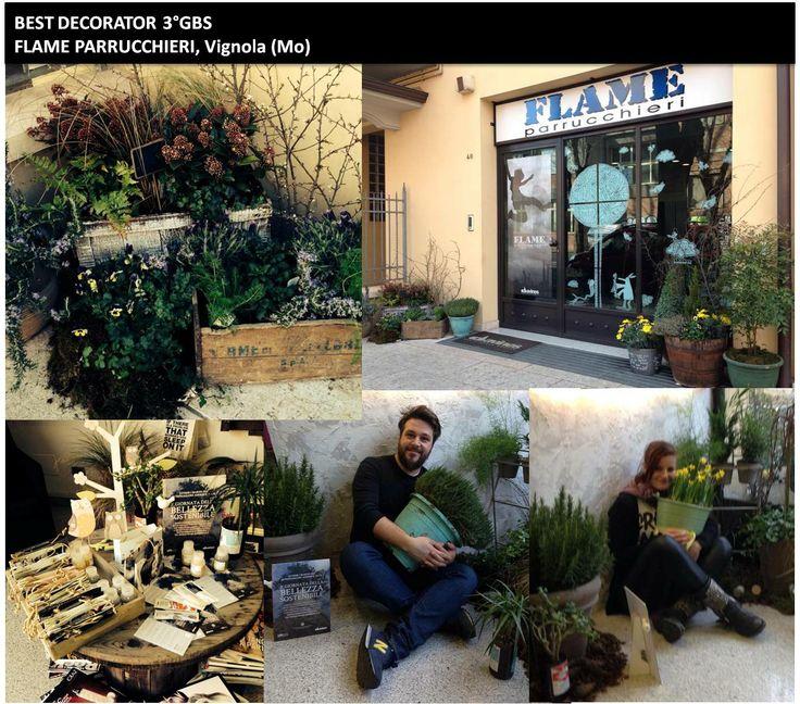 Il titolo di Best Decorator della 3° edizione della Giornata della Bellezza Sostenibile è stato assegnato a Flame Parrucchieri di Vignola (MO) per la freschezza dell'arredo ispirato ai giardini provenzali!