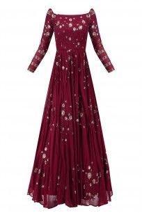 Dark Maroon Floral Work Off Shoulder Anarkali Gown #asthanarang #shopnow #ppus #happyshopping