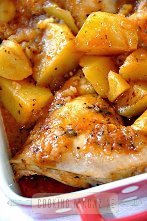 Cocina de Revista: POLLO EN SALSA DE TOMATE CON PATATAS/Cooking Magazine - Chicken in tomato sauce with roasted potatoes recipe. Cuban Recipe.