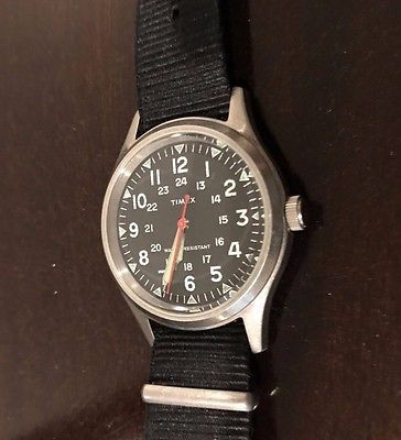 OUT OF PRODUCTION J CREW MILITARY WATCH by Timex BLACK FACE 24 HOUR DIAL WATCH