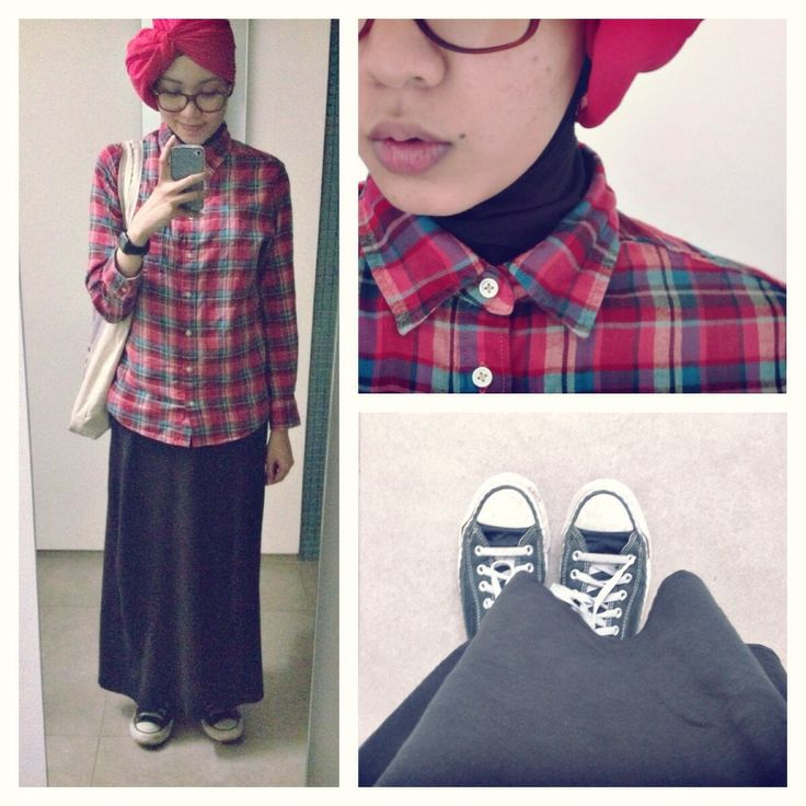 ootd casual hijab shirt turban, maxi skirt, flanel shirt, converse sneakers, plaid  Syaifiena W lookbook.nu/syaifiena