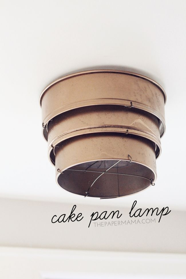 Cake Pan Lamp Shade! This super cool light fixture is made with thrift store cake pans & wire hangers!