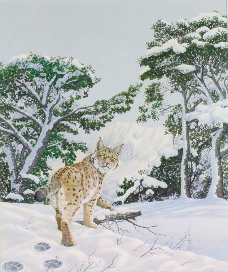 "Lot 412, Richard W Orr, watercolour, signed, a study of a lynx in an extensive winter landscape 25"" x 21"", est £500-600"