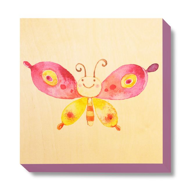 CHI 046 Children's Art - Watercolour Pink & Yellow Butterfly