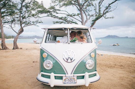 modern hawaii wedding photos with vw | http://bestromanticweddings.blogspot.com