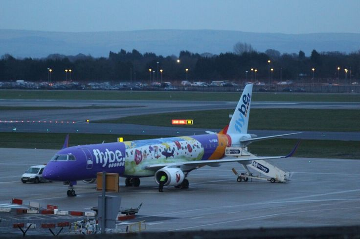 Flybe Airline Aeroplane different Livery multicolour not the standard Blue & White or the Purple Livery of Flybe Airline