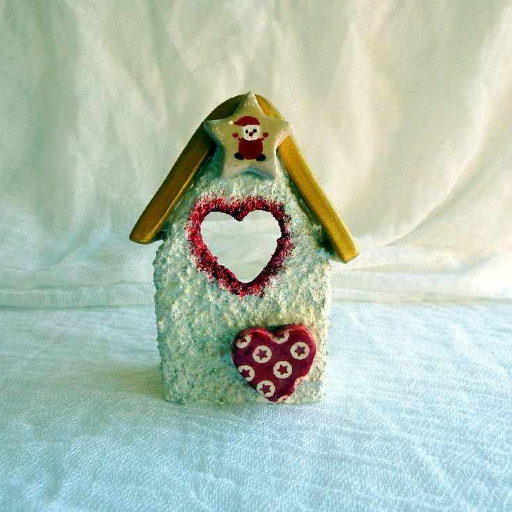 Christmas candle holder miniature house vintage style ceramic house pottery house cottage chic decor by kosmobysoul on Etsy