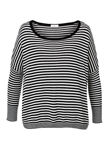 100% Cotton Stripe Jumper. Comfortable fitting silhouette features a wide boat neck, dropped shoulder with long sleeves in an all over stripe. Available in Multi Stripe as shown.