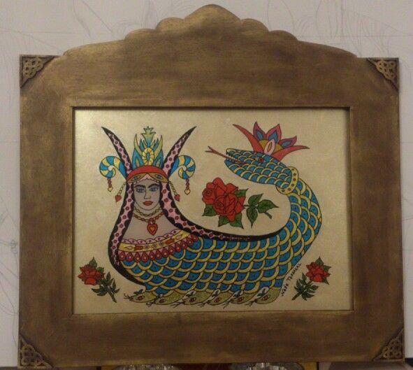 Neş'e TOPSAKAL__  Şahmaran.. my work. .  Camaltı boyama çalışmam. .underglass.. glasspaint