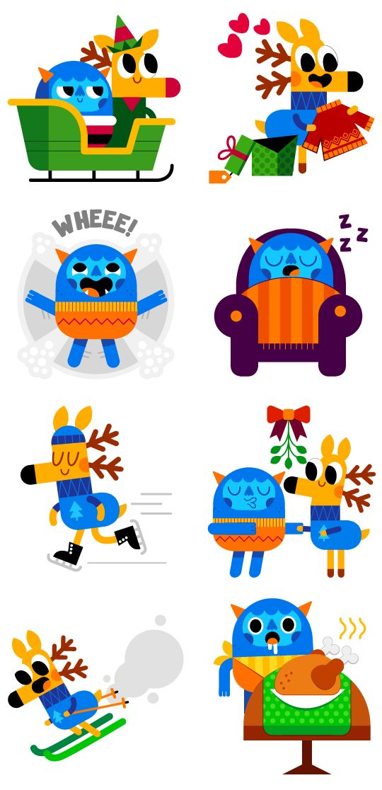 Deer & Yeti - Social messenger app stickers on Behance