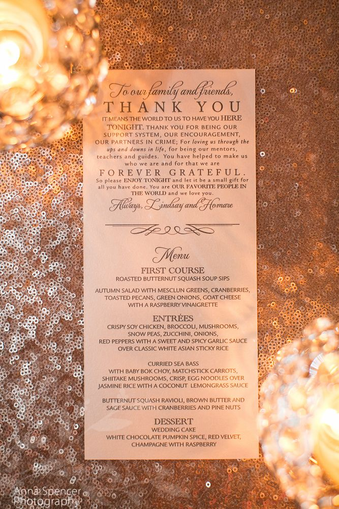 Anna and Spencer Photography , Atlanta Wedding Photographers . Thank you & wedding menu card on a rose gold sequin table linen . Vegetarian and Pescetarian wedding menu options .
