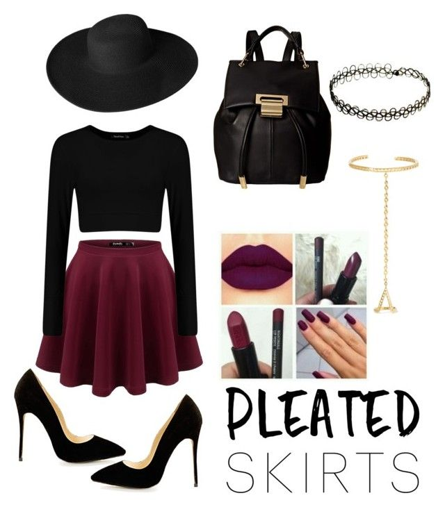 """Pleats!"" by anjana-akanksha on Polyvore featuring Ivanka Trump, Dorfman Pacific, Arme De L'Amour, hat, pleatedskirts, chokernecklace, maroonlipstick and fingerbracelet"