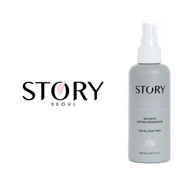 Calming & Revitalizing Toner by Story Seoul.  Rich in natural ingredients from Korea.  Alcohol free toner to avoid dryness and skin irritation that can lead to acne breakout.  Skin benefits: brighten skin complexion, tighten pores, calm skin, hydrates skin, smooth skin complexion.