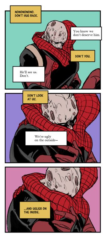 Marvel's Peter Parker/Spiderman and Wade Wilson/Deadpool Deadpool is beautiful both inside and out.