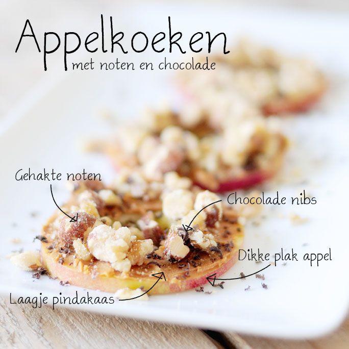 Appel / pindakaas / noten / chocolade nibs. Geen suiker, appelstroop of appelmoes.
