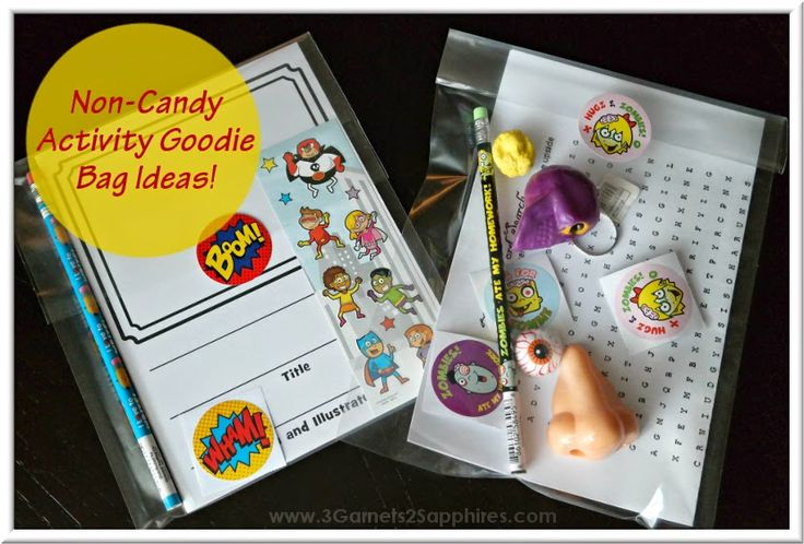 Non-Candy activity goodie bag ideas for classroom and party favors (plus free printable zombie word search)     www.3Garnets2Sapphires.com