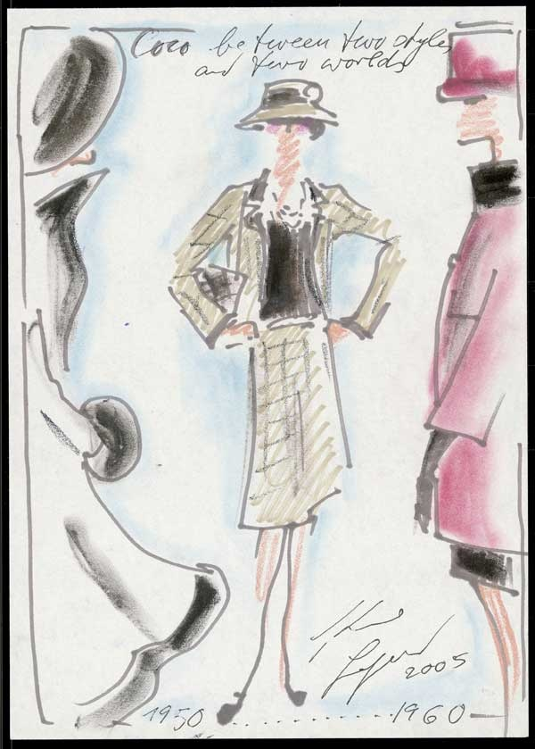 1950-1960: Mademoiselle #Chanel and her creations by decade. Coco between two styles and two worlds.  Sketch by Karl Lagerfeld. © Chanel