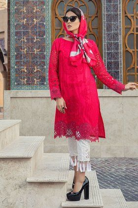 46a540494c7 Maria.B 3 Piece Printed Custom Stitched Lawn Collection - Red - D-1803-B