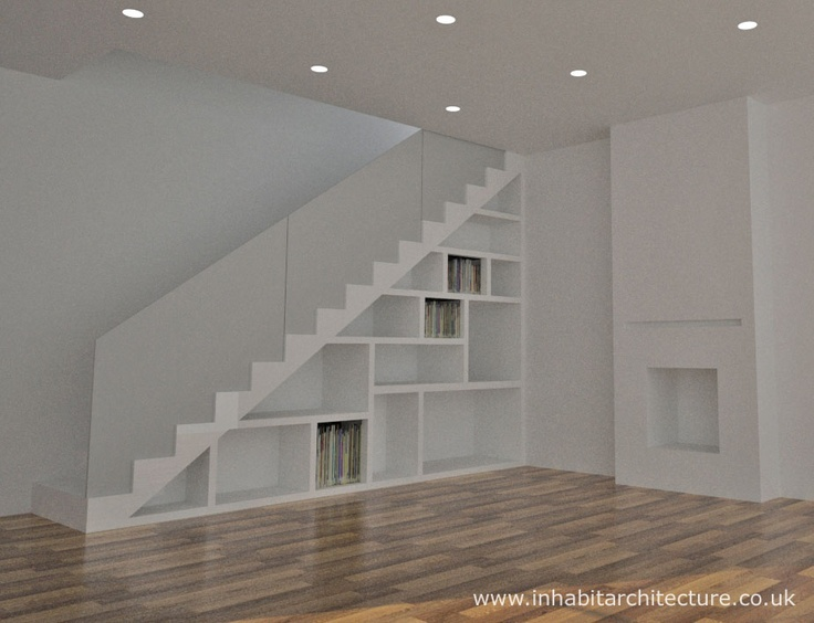 Contemporary storage staircase, with obscured glass handrail. Ideal addition to suit a traditional or contemporary interior