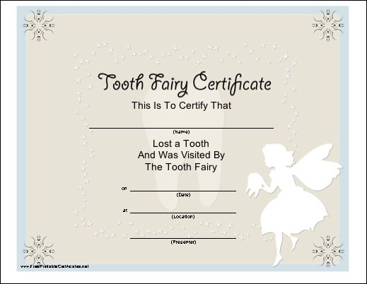 13 Best Tooth Fairy Certificates Images On Pinterest Tooth Fairy