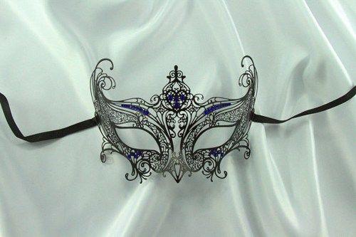 Elegant Black Venetian Metal Filigree Laser Cut Masquerade Mask w/ Blue Rhinestones | ElegantCostumes - Clothing on ArtF