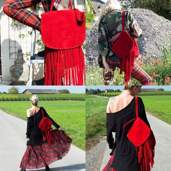 Boho Red Fringe Backpack Beautiful backpack in dark red. Fringes, soft suede, handmade... Lined inside. Gorgeous colour. Never worn! I paid over $175 with shipping. Boho Bazaar Bags Backpacks