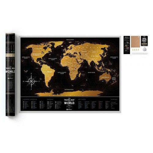 Świat mapa zdrapka (czarna), mapa zdrapka, 1DEA.me
