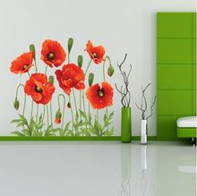 Big Discount!! RED POPPY Removable Wall Decals Home Decor Art Flower Vinyl Mural Wall Stickers Free Shipping XY8001(China (Mainland))