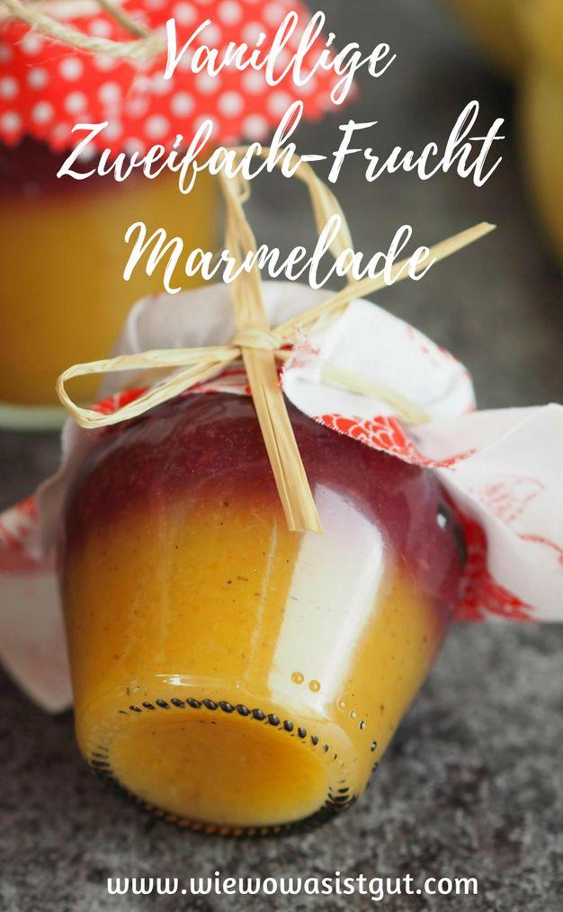 Diese leckere zweifarbige fruchtige Marmelade lässt sich zu jeder Jahreszeit herstellen. Mango oder Ananas für die gelbe und Erdbeer oder Himbeere für die rote Schicht. Ein tolles und schnelles Geschenk. Total schön für den Frühstückstisch.  #marmelade #geschenk #mango