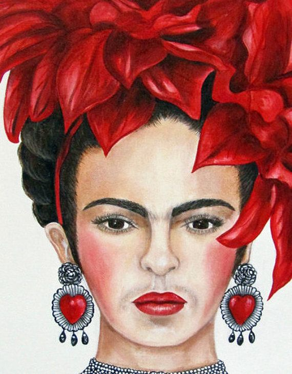 Fridas Heart - Original Fine Art Oil Painting 14 x 18 Oil on Canvas Every year I try to do a Frida Portrait for Christmas. This one is for 2017. Love the way it turned out with all of her heart shaped jewelry too. This would be a wonderful gift for the Frida lover. 14 x 18 Oil