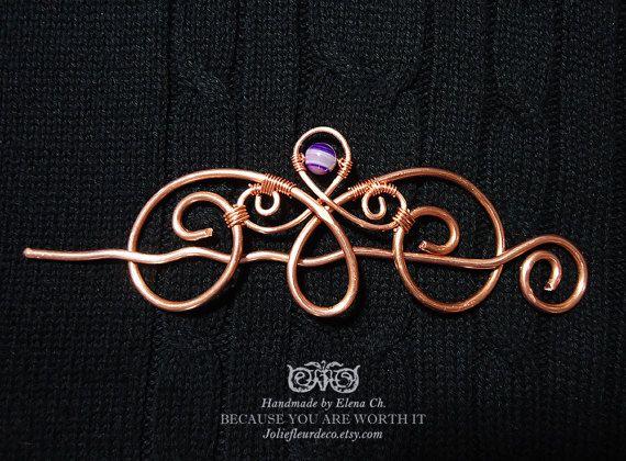 Large Copper Hair Clip, Copper Hair Barrette, Purple Agate Hair Stick, Agate Hair Jewelry, Hair Accessories Gemstone Jewelry, Hair Pin