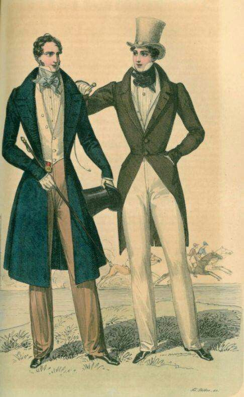 "Dandy's were men during the Regency Period whom dressed very fashionably and wanted to personify themselves as the ""best"" in society.  They wore clean, refined, and perfectly tailored clothing."