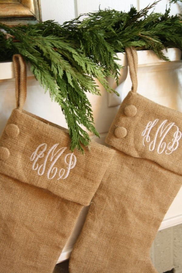 Monogrammed burlap stockings. These would look amazing with my rustic tree!