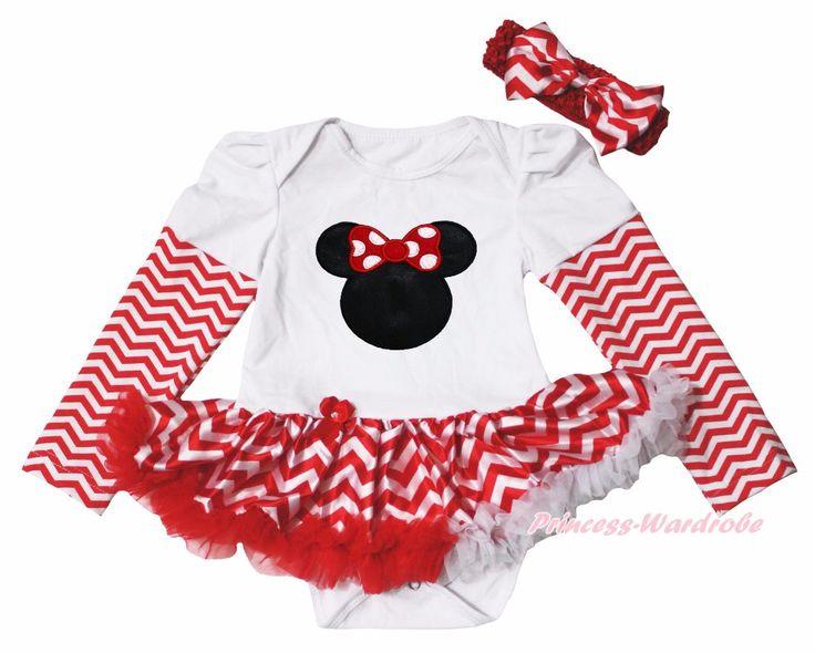 Рождество красного минни вещь 123 я люблю папа мама обычная красный белый шеврон L / S боди девушки детское платье наряд комплект нб-18month