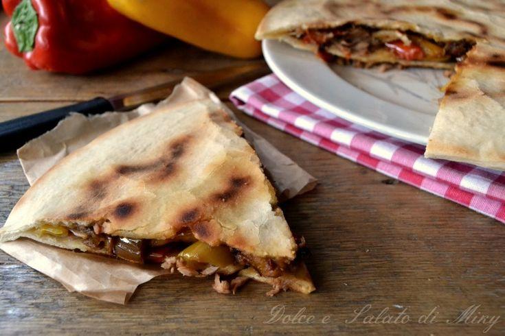 ricetta focaccia con tonno e peperoni in padella| Dolce e Salato di Miky
