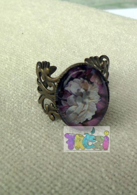 AKCIÓS ÁR! Pünkösdi rózsás, antik színű állítható alappal készült gyűrű, Ruha, divat, cipő, Ékszer, óra, Baba-mama-gyerek, Gyűrű, Meska