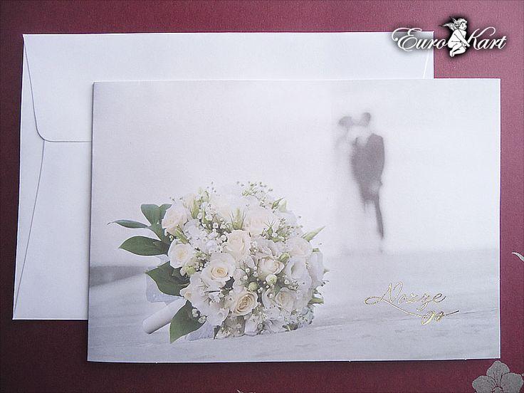 """Invito semplice serie 2015 """"wedding""""  con scritta color oro stampata a caldo."""