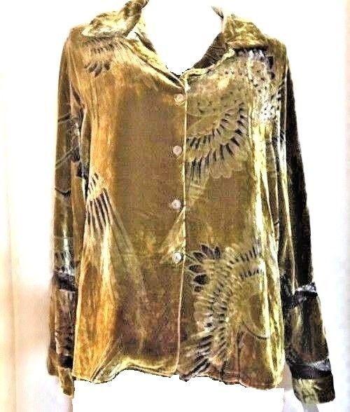 a87ed7285a1 Citron Santa Monica Women s Silk Velvet Shirt Jacket Green M  Citron   Longsleeve  Casual