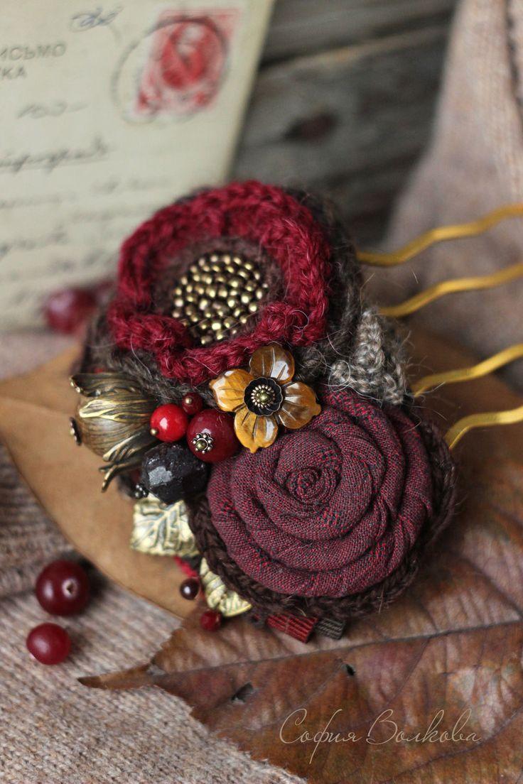 """Купить Гребень """"Зимние ягоды"""" - гребень, гребень для волос, гребень с цветами, гребень для прически, клюква"""