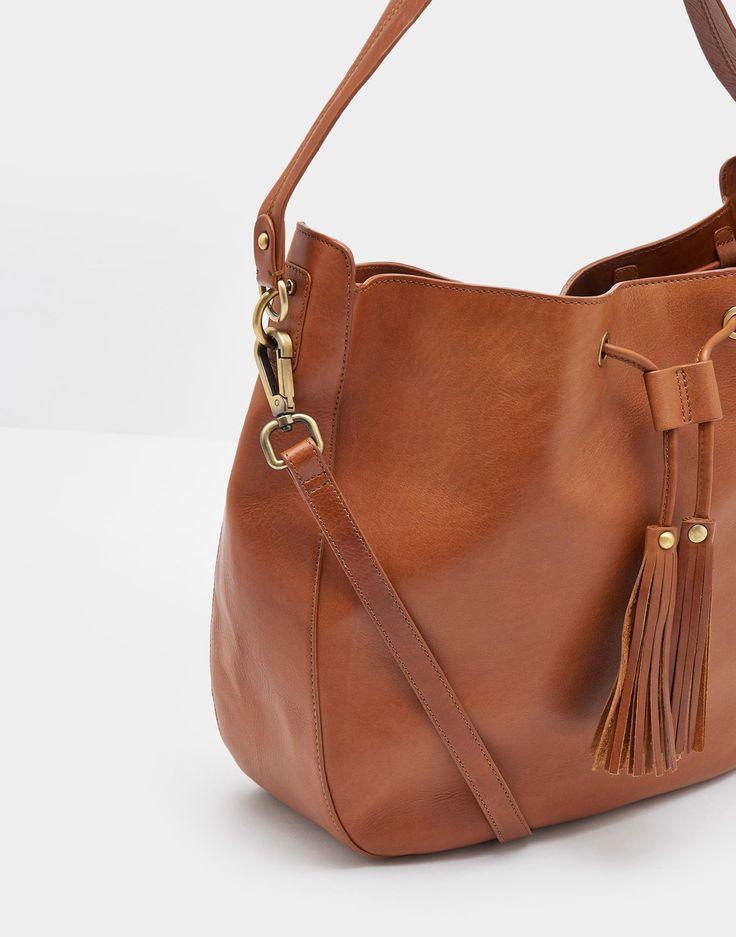 Beau Chesnut Leather Shoulder Purse , Size One Size | Joules US