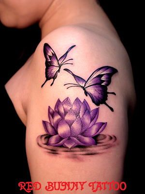 Lotus Flower And Butterflies Tattoo On Shoulder