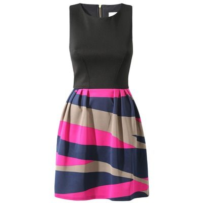 Almari Chunky Stripe Gathered Dress