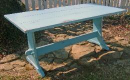 painted farmhouse table with trestle: Farmhouse Table, Shops, Cottage, Farms, Country Farm, Trestle Table, Farm Plank, Top