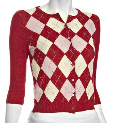 The exact cardigan Rachel wore in 'Hello' is still for sale! Autumn Cashmere Red Argyle Cashmere Crewneck Cardigan - $150.99